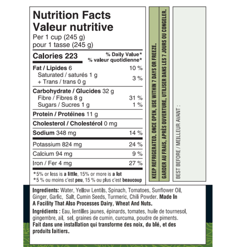 Tiffinday's Lentil Spinach Nutritional Facts