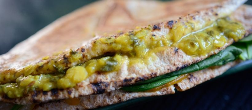 Tiffinday Crunch Wrap with Lentil Spinach Curry